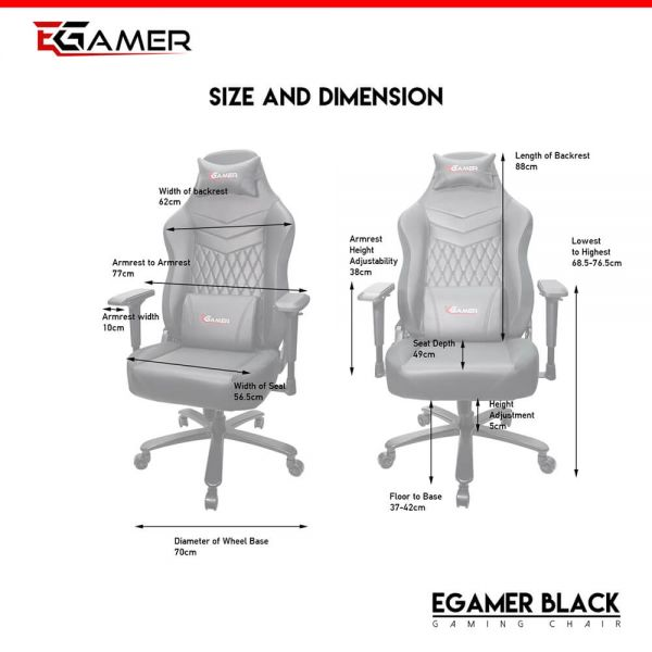Egamer gaming chair BLACK Cijena